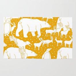 Polar gathering (orange juice) Rug