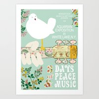 woodstock Art Prints featuring Woodstock Birdie Collage Print by Claudia Schoen