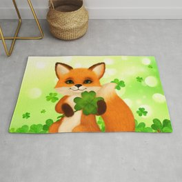 Fluffy little fox with 4-leaf clover Rug