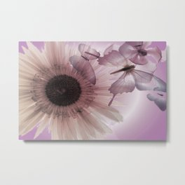 Transparent flower with butterflies. Metal Print