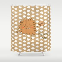 cookie monster Shower Curtains featuring Cookie by EnelBosqueEncantado
