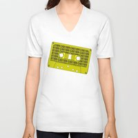 tape V-neck T-shirts featuring Caution Tape by Resistance