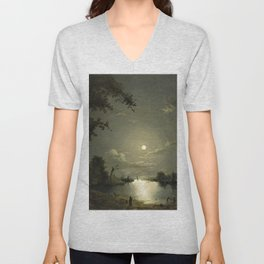 Classical Masterpiece Moonlit River Landscape with a Town by Abraham Pether Unisex V-Neck