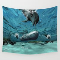 submarine Wall Tapestries featuring Submarine  by nicky2342