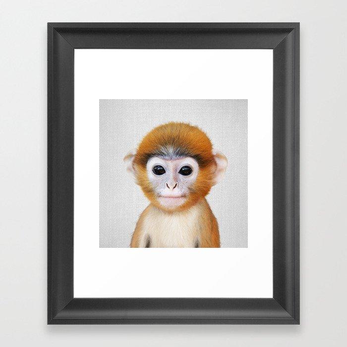 Baby Monkey - Colorful Gerahmter Kunstdruck