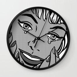 Happy Tears 02 B&W Wall Clock