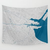 dublin Wall Tapestries featuring Dublin city map grey colour by MCartography