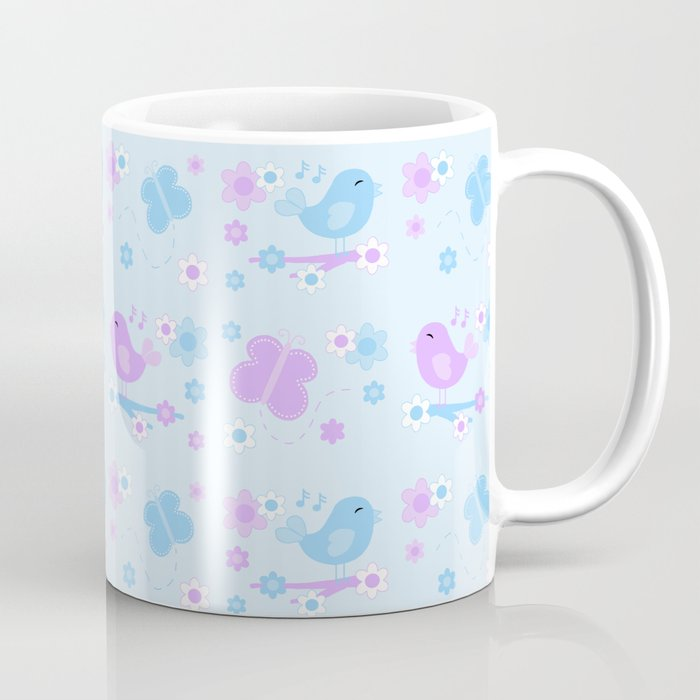 Chickadee Bird Butterfly Floral Purple Lavender Blue Coffee Mug