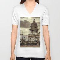 cuba V-neck T-shirts featuring CUBA - CAPITOLIO by mayavisual