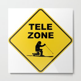 Telemark Ski Zone Sign Metal Print