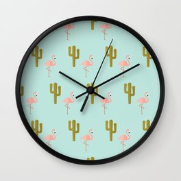 Flamingos in the desert Wall Clock