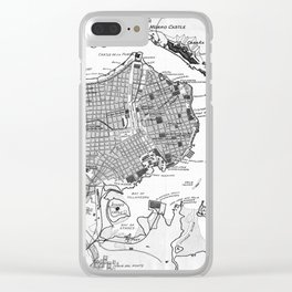 Vintage Map of Havana Cuba (1898) 2 BW Clear iPhone Case