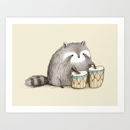 Raccoon on Bongos Art Print