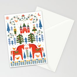 Scandinavian Fairtytale - Green + Red Stationery Cards