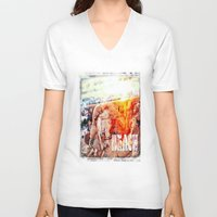 chicago bulls V-neck T-shirts featuring Beach Bulls by Zhineh Cobra