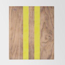Wood Grain Stripes Yellow #255 Throw Blanket