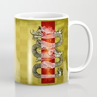 mandie manzano Mugs featuring The Dragon by Diogo Verissimo