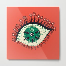Weird Eye With Leaves And Ants Metal Print