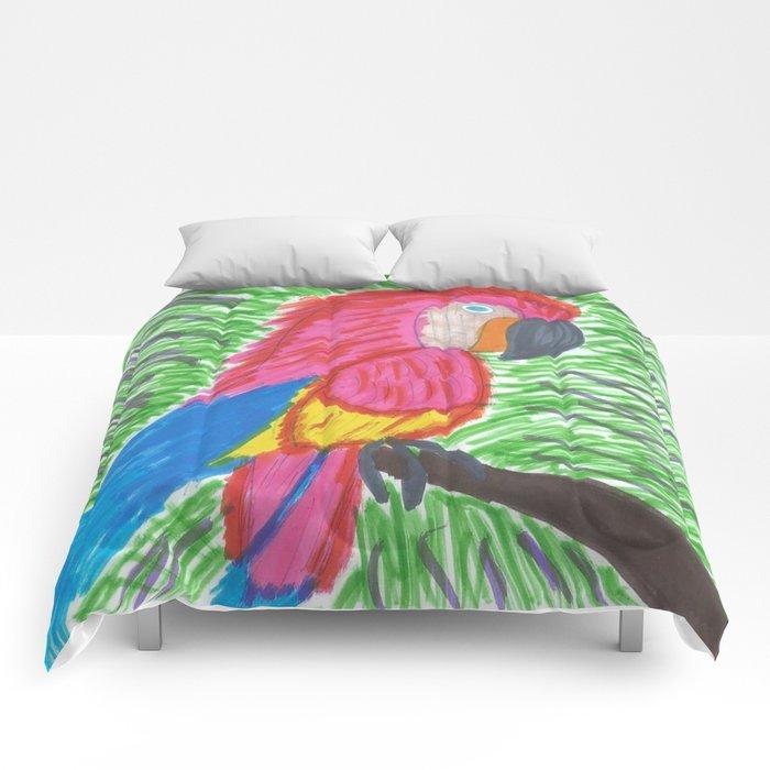 Pink Bird of Paradise Comforters