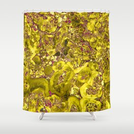 Marble Solar Gold Shower Curtain
