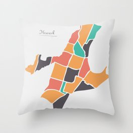 Newark New Jersey Map with neighborhoods and modern round shapes Throw Pillow