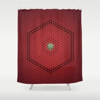 hexagon Shower Curtains featuring Hexagon by BoxEstudio