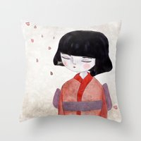 sakura Throw Pillows featuring Sakura by munieca