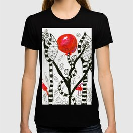 Pop of Color, Red Balloon Zendoodle in Fanciful Forest T-shirt