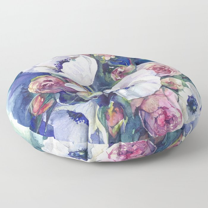 Watercolor anemone roses flowers Floor Pillow