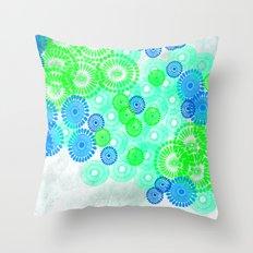 Flower Power Blue Green Throw Pillow