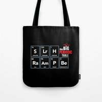 periodic table Tote Bags featuring The Big (Bang) Periodic Table by Boots