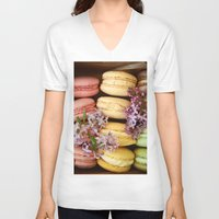 macaroons V-neck T-shirts featuring Pretty Macaroons by Olivia Joy StClaire