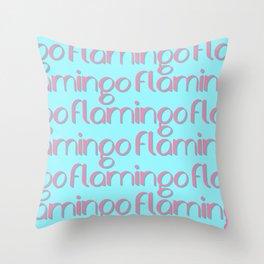 flamingo flamingo flamingo // pink + blue Throw Pillow
