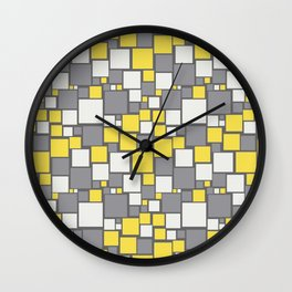 Funky Mosaic Square Pattern Pantone 2021 Color Of The Year Illuminating and Ultimate Gray Wall Clock