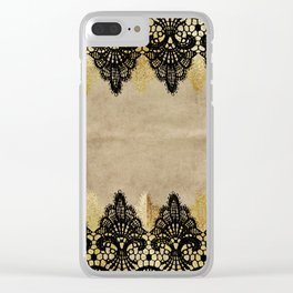 Elegance- Ornament black and gold lace on grunge paper backround Clear iPhone Case