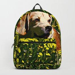 beagle dog flower field vector art Backpack