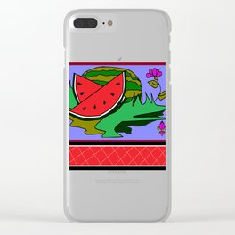 Watermelon with flower and red tile Clear iPhone Case