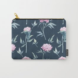 Rows of watercolor peonies seamless pattern on a dark blue background Carry-All Pouch
