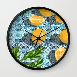 Sweet Morocco, Tropical Lemon Tiles Painting, Eclectic Summer Modern Bohemian Exotic Illustration Wall Clock