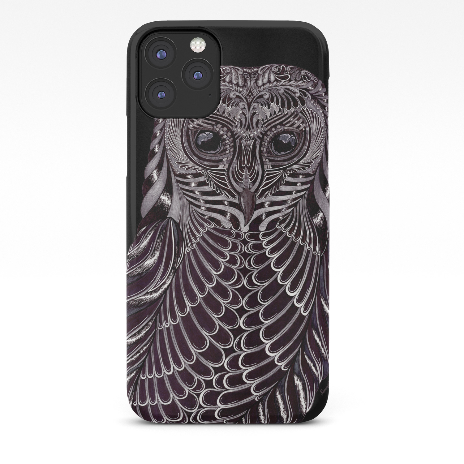Masked Owl With Black Background Iphone Case By Samuelj Society6