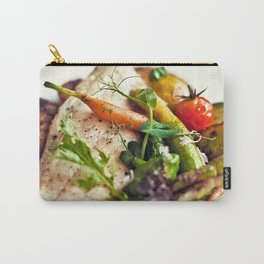 Branzino filet, chorizo dumplings, baby vegetables and spinach sauce Carry-All Pouch