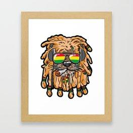 RASTA LION Joint Smoking Weed 420 Ganja Pot Hash Framed Art Print