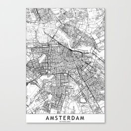 Amsterdam White Map Canvas Print