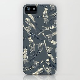 dog party indigo pewter iPhone Case