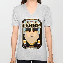 Ice Hockey Black and Yellow - Faceov Puckslapper - Josh version Unisex V-Neck
