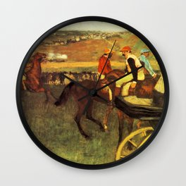 The Racecourse Amateur Jockeys 1880 By Edgar Degas | Reproduction | Famous French Painter Wall Clock