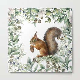 Art Watercolor, Squirrel and Forest Art Metal Print