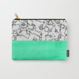 Painted Marble - Mint and Black Carry-All Pouch