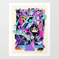 geometric Art Prints featuring geometric by yoaz