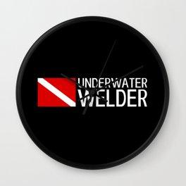 Diver Down Flag: Underwater Welder Wall Clock